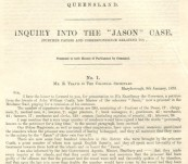 """""""Inquiry into the 'Jason' Case"""" – Correspondence presented to both Houses of Parliament by Command – 1873"""