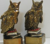 Owls on Books Bookends  – By Marion Bronze -1930