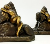 Egyptian Revival: Female Nude on Sphinx  Bookends by Galvano  Bronze – 1925