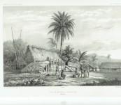 Cases de Naturels a Nouka-Hiva  (Baie Anna Maria) – Louis LeBreton (Dumont d'Urville Expedition) – 1846