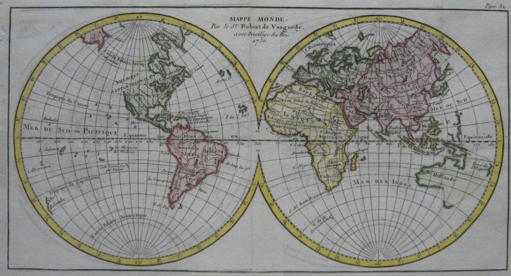 1750 Map Of The World Cartographer Robert De Vaugondy Voyager