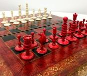 Beautiful 19th Century English Barleycorn Chess Set with Faux Book Folding Board