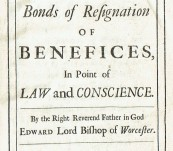 A Discourse Concerning Bonds of Resignation of Benefices in Point of Law and Conscience –  Stillingfleet – First edition 1695