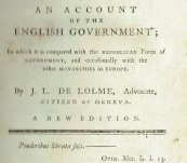 The Constitution of England or An Account of the English Government – J.L. De Lolme – 1777 (Once the Property of First Fleet Ship Owner – Sir William Curtis 1st Baronet of Cullands Grove).