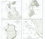 First maps of the Hunter Group in the Bass Strait, Maria Island off the east coast of Tasmania, King Island in the Bass Strait and islands in the Bonaparte Archipelago, North West Australia – Louis de Freycinet – 1811