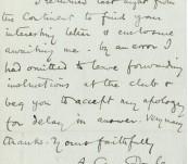 Arthur Conan Doyle Manuscript Letter 1902