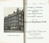 Allen & Hanburys Ltd – Abridged Catalogue of Surgical Instruments and Appliances – Aseptic Hospital Furniture and Electro-Medical Apparatus. – c1920