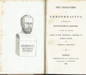 The Characters of Theophrastus – Isaac Taylor – 1831