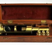 Field or Students Microscope c1900-  Large size with three separate objectives and group of antique French microscope slides – fine condition.