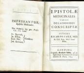 Epitolae Medicanales Variis Occasionibus Conscriptae – Ricardo Carr – 1691