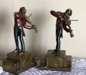 Violinist Bookends by Armor Bronze – 1930's