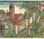 Original Page with a Woodcut of a View of Nineveh (Iraq) from the Liber Chronicarum [Nuremberg Chronicles] – 1493 / 1497