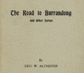 Australian Poetry – The Road to Burrandong [A Collection] – George Althofer – First Work – Self Published 1936