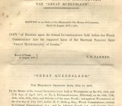 """Rare Shipwreck Item -T. H. Farrer – """"Report upon the Formal Investigation held before the Wreck Commissioner into the Supposed Loss of the British Sailing Ship 'Great Queensland' of London"""" – 1877"""