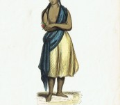 A Young Pitcairn Girl – Original Hand Coloured Engraving – 1845