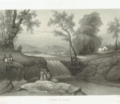 "Fine Original Aquatint – Riviere de Bezouki (Java Indonesia) – Lauvergne from ""La Favorite"" – 1835"