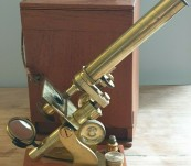 """""""Society of Arts"""" Victorian Brass Microscope with Case – c1860-70"""