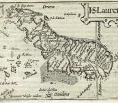 Madagascar – I.S. Lauretij  Published by Cornelis Claesz, Petrus Bertius, Barent Langenes,  – engraved by Benjamin Wright – c1600